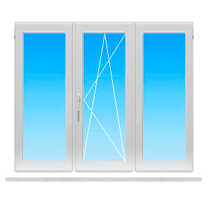 Пластиковое окно с тремя створками дав глухих и одно поворотнооткижное
