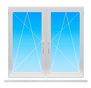 Фото окна с двумя поворотно-откидными створками.