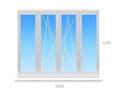 Балконная рама ПВХ 4 створки 2 откидные