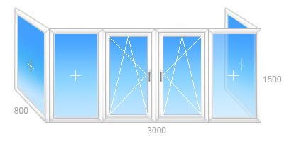 Балконная рама ПВХ п-образная, две поворотно-откидные створки, четыре глухих